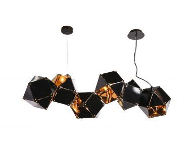 Pendant Light 6 Light Squircle Black And Gold